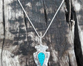 Vintage Turquoise Arrowhead Sterling Silver Pendant Necklace - Hallmarked