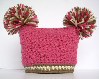 Crochet Baby Girl Hat with Pom Poms, Raspberry pink with chocolate brown and cream, 0 to 18 months