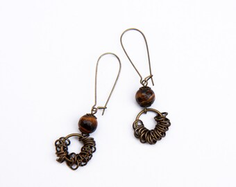 Tiger eye earrings,  Brown natural stones earrings, Brass Earrings, Christmas gift ideas