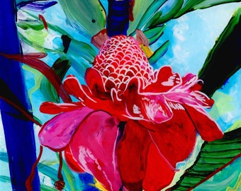 Torch Ginger Original Reverse Acrylic Painting Kauai Hawaii Hawaiian flower Exotic Decor Hawaii Interior Design Etlingera elatior