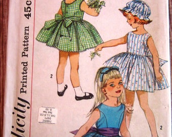 Little Girls One-Piece Sleeveless, Collarless Dress and Hat Transfer Included Size 3 Vintage 1960s Simplicity Pattern 3984 Cut/Complete