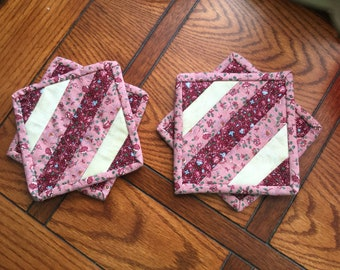Quilted Coasters burgundy set of four