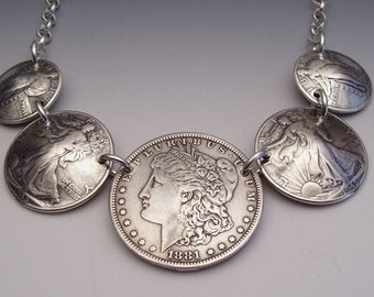 5 Coin Lady Necklace made from US silver coins including dollar