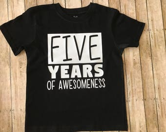 Boy birthday shirt, birthday outfit, five year old boy, awesome birthday shirt, awesome birthday boy