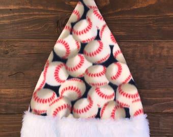 baseball themed santa hat, baseball, holidays