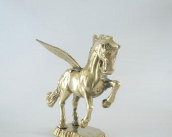 Brass Pegasus Statue/Mythical Winged Horse/Brass Stallion Figurine/Nursery Decor/Vintage Horse Statue on Brass Base
