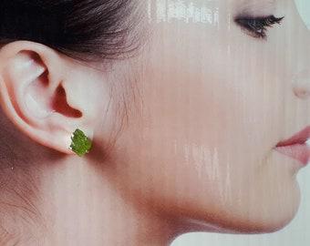 Raw, rough peridot stud earrings, 92.5 sterling silver