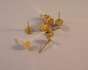 20 disc 11 mm x 6 mm BO1 gold studs
