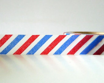 Airmail Washi Tape Red and Blue Stripe Air Mail Pattern masking tape Pretty Tape