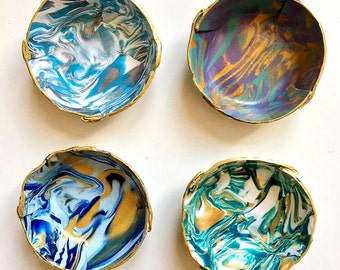 Marbled Ring Dish - Set of 4 - Bridesmaid Gift - Polymer Clay Bowl - Jewelry Dish  - Tealight holder - Hostess Gift - Blue