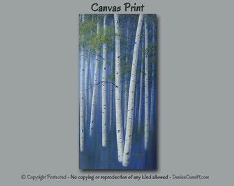 Birch tree painting - Canvas art print, Navy blue home decor, Olive Green, Wall art large, Office, Aspen tree art, Landscape, Tall canvas