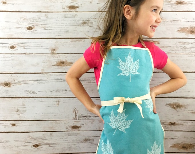 Childs apron! Kids apron/childrens apron, organic canvas, turquoise, maple leaves, fits 3-8 years, handprinted, unisex, eco-friendly