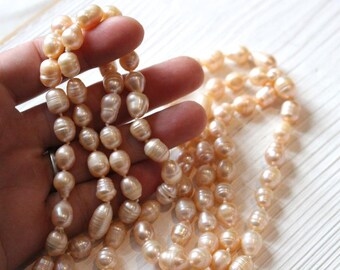 Vintage knotted peach baroque pearl necklace, SALE