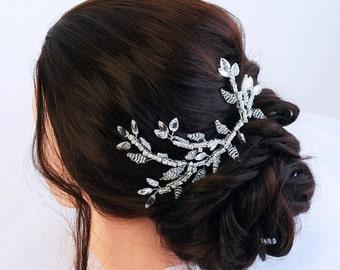 Bridal hair vine- Crystal wedding hair vine - Bridal headpiece - Wedding hair piece - Silver Hair vine for bride- Wedding hair accessories