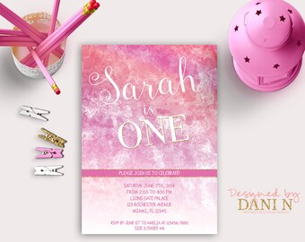 Watercolor pink birthday invitation, shabby pink first birthday invite, hot pink and gold party, girl invitation any age printable diy