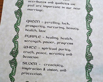 Celtic CUSTOM HANDFASTING CERTIFICATE DeSCRIPTION of CoLors for your Celtic HaNDFASTING COrd