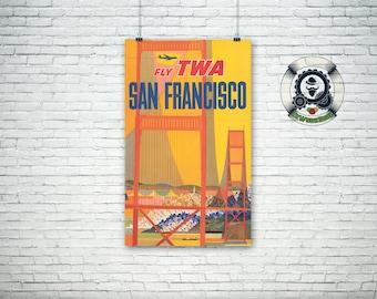 Poster of travel-Vintage Travel Poster-Fly TWA SAN FRANSISCO-1957-Retro Illustration-Art Print