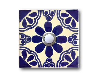 Doorbell 3x3 - Handcrafted Ceramic Tile Cover with Lighted Button - 3 x 3