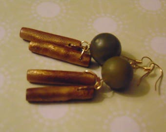 Green Resin Beads Golden Bamboo Pieces Golden Dangle Drop Earrings