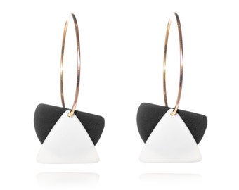 Ceramic hoop earrings black and white - made in France - porcelain jewelry