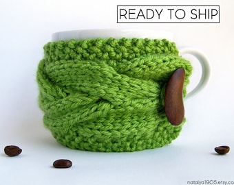 Knit Coffee Cozy, Coffee Mug Cozy, Green Tea Cozy, Coffee Cup Sleeve, Coffee Cup Cozy, Knit Coffee Sleeve, Vegan Gift, Yoga Gifts, Tea Gifts