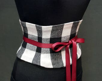 Black and White Plaid Check Waist Cincher / Corset Belt / Wool Plaid Belt / Tight Lacing Waspie Waist Shaper / Plus Size Clothing / Winter