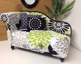 """Chaise lounge chair for dolls, Dollhouse furniture, 1:6 scale, 12"""" dolls"""