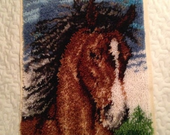 Hand Hooked Horse Rug