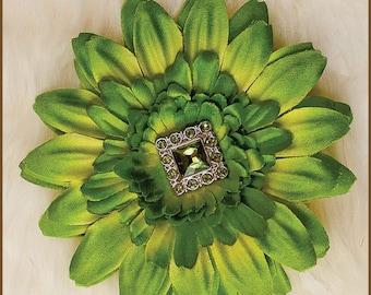 Green Flower Hair Clip  - Artichoke Daisy Hair Clip - Green Daisy Clippie - Green Adult Hair Clip