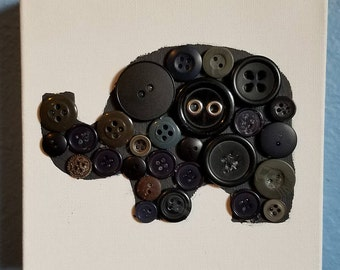 Baby Black and Grey Button Elephant Nursery Art