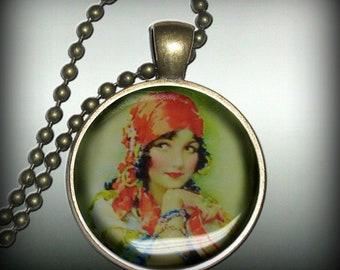 Gypsy Pendant Charm, Resin Necklace, Image Pendant, Necklace Pendant (p17)