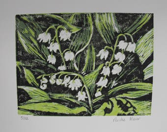 Original 4 colour linocut block print on white paper, relief print, Spring flowers, Lily of the Valley