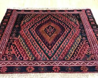 "2'8"" x 3'8"" Antique Persian Kurdish Oriental Rug - 1930s - Hand Made - 100% Wool"