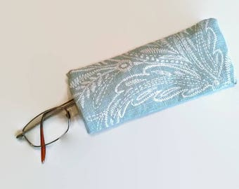Pale Green w/ White Pattern Upcycled Eyeglass Case Sunglasses Holder