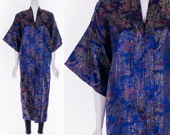 Vintage Sapphire Blue Brocade KIMONO Asian Silk Duster Jacket Angel Sleeves Open Style Jacket Robe One Size