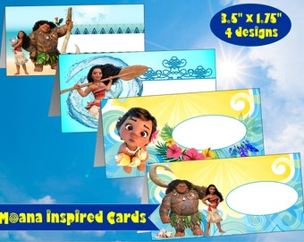 Moana Inspired Place Cards Moana Food Tags Printable Moana Tags Moana Food Labels Moana Name Tags Moana Place Holders Moana Food Tent Cards