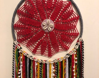 Large Dreamcatcher - red, green, yellow, rasta/jamaican, cowrie shells (14in)