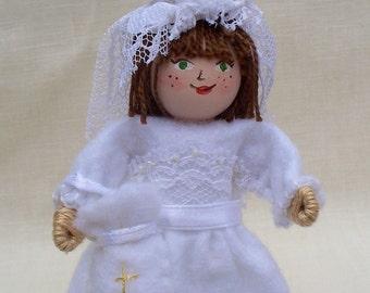 First Communion Girl, Piksee Doll, Felt Art Doll, felt ornament by WhisperingOak