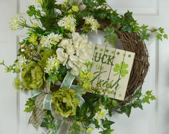 Luck of the Irish Sign - St Patrick's Day Wreath - St Patrick's Day Decorations
