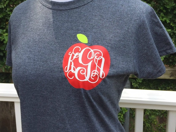 Monogrammed Apple Teacher Shirt
