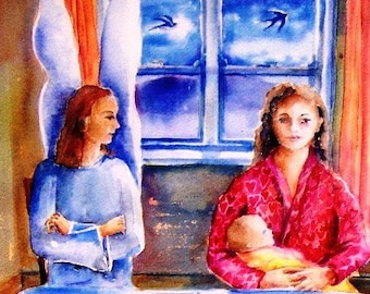 Interview for a Guardian Angel -Original watercolour 16 x 12 ins