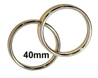 SILVER o-rings 40mm ID / One and One Half Inch o Rings / SILVER O Ring / Strap Hardware / O rings / Set of Two O Rings
