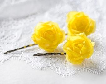 71 Yellow hair pins, Roses, Hair accessories rose, Flower hair pins, Hair pins, Rose bobby pin, Hair pin flower, Wedding hair piece, Bridal.