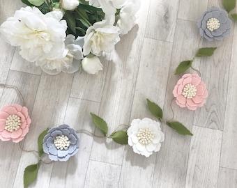 Floral felt flower garland nursery decor newborn baby