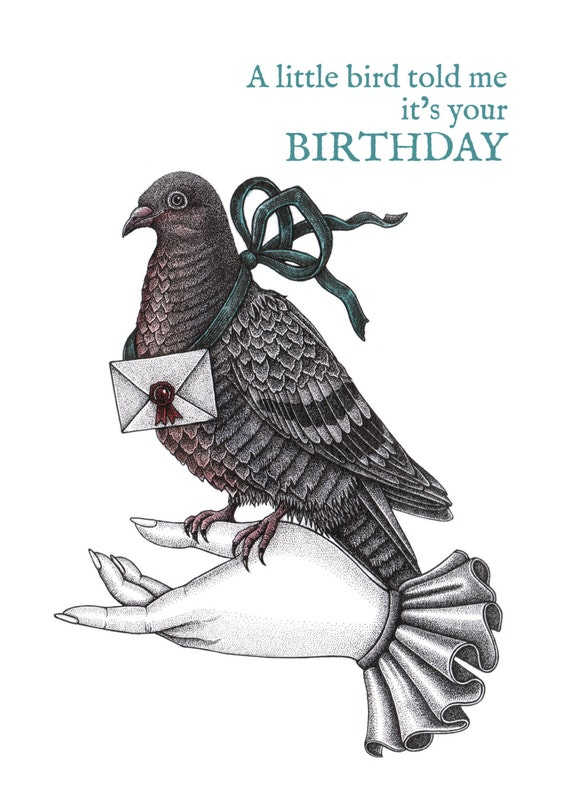 Carrier pigeon birthday card messenger bird bird birthday like this item bookmarktalkfo Images