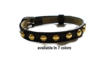 Black Genuine Leather Studded Bracelet  -  Gold Studded Black Wristband Bracelet  - 8mm Black Leather Strap -  AdjustableLayering bracelet