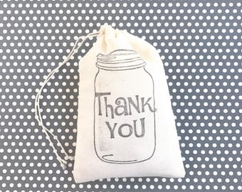 Thank You Mason Jar Favor Bag Wedding Welcome Muslin Bag Baby Shower Gift Bag Birthday Party Gift Bag Bachelorette Bridesmaid Groomsmen