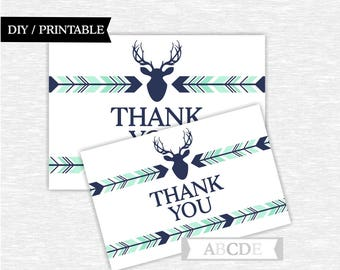 Instant Download Mint Navy Woodland Deer Party Thank You cards Thank You notes Birthday party Baby shower (PDWSI041)