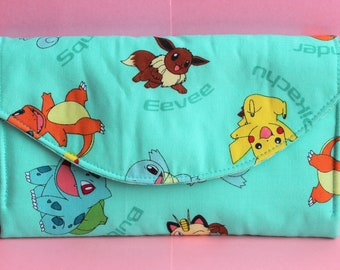 Pokemon Quilted Accordion Style Clutch Wallet with 10 card slots and zipper pockets
