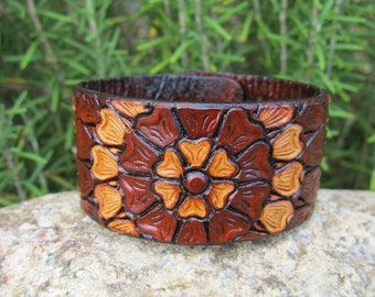 Leather Tooled Bracelet Cuff Two Tone Flower - women girl teen adult